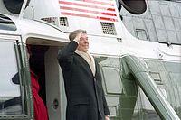 Reagan se loučí v letadle Marine One krátce po inauguraci George H. W. Bushe, leden 1989.