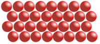 Een diagram van hoe moleculen in een vaste stof gerangschikt zijn.