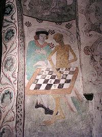 Middeleeuws schilderij van de Dood die schaakt, uit de kerk van Täby in Zweden