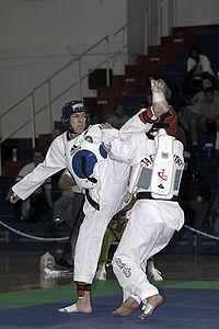Een Taekwondo gevecht.
