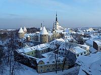 Winters tafereel in Tallinn, Estland op nieuwjaarsdag 2010.