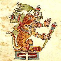 Tezcatlipoca afgebeeld in de codex Rios in het aspect van een Jaguar - in deze vorm werd hij Tepeyollotl genoemd.