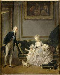 Der Herzog und die Herzogin von Chartres mit einem Enfant Louis Philippe (1837 Kopie des Originals von 1776).