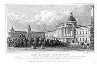 De London University zoals getekend door Thomas Hosmer Shepherd en gepubliceerd in 1827/28. Dit was de oorspronkelijke naam van het University College London, dat de site nog steeds in gebruik heeft.