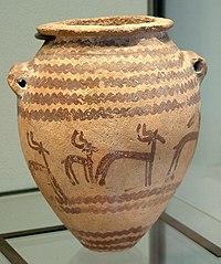 Ein typischer Naqada-II-Krug mit Gazellendekor. (Prädynastische Periode)