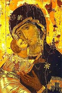 Vyobrazení Ježíše a Marie, Bohorodičky z Vladimiru (12. století).
