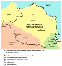 Zakarpattia (oranje) als deel van het grondgebied dat door de West-Oekraïense Volksrepubliek wordt geclaimd (1918).