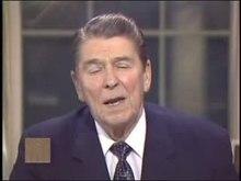 Přehrávání médií Reagan v souvislosti s aférou promluvil k národu a převzal plnou odpovědnost, březen 1987.