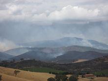 Een deel van de Maroondah/Yarra brand ten oosten van Yarra Glen, Victoria, op 10 februari.