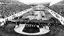 De openingsceremonie in het Panathinaiko Stadion