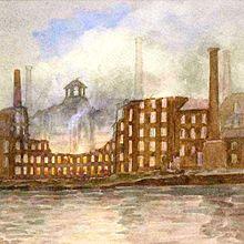 アルフレッド・ジョン・キーンによる1910年の火災の水彩画。