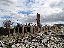 Verbrand huis in Yarra Glen, Victoria