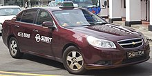 Een SMRT Chevrolet Epica sedan taxi