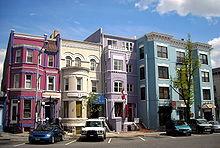 Historische commerciële gebouwen gelegen langs 18th Street, NW in Adams Morgan