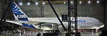 De eerste voltooide Airbus A380 in Toulouse op 18 januari 2005. Airbus staat symbool voor de globalisering van de Franse en Europese economie.