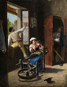 """""""De vluchtende minnaar"""", 19e eeuws schilderij van een onbekende kunstenaar, gesigneerd A. Buzzi."""