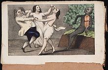 Een mormoon en zijn vrouwen, dansend op de duivelse melodie ,illustratie uit 1850