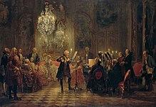 Frederik II op fluit, met Bach aan het klavier