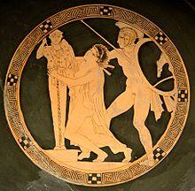 Ajax neemt Cassandra, schildert op een drinkbeker (kylix) van de Kodros-schilder, ca. 440-430 voor Christus, Louvre.