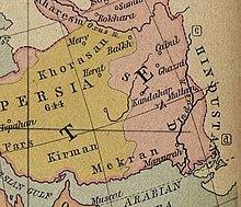 Nazwy terytoriów za czasów kalifatu w 750 r. n.e. Khorasan był częścią Persji (w kolorze żółtawym).