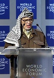 Yasser Arafat s'exprimant au Forum économique mondial en 2001
