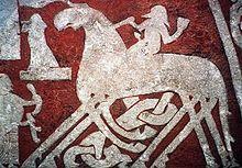 Odin rijden op Sleipnir (Ardre beeldsteen, 8e eeuw).