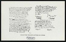 Jeden z Arnoldových šifrovaných dopisů.