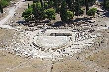 Moderne afbeelding van het Theater van Dionysus in Athene, waar veel van Aeschylus' toneelstukken werden opgevoerd