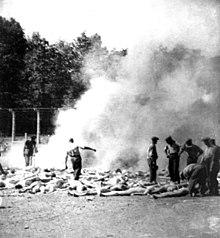 Leden van het Sonderkommando verbranden lijken in Auschwitz II-Birkenau.