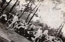 Maart naar de gaskamers, een van de foto's die Sonderkommando in augustus 1944 in het geheim maakte in Auschwitz II.