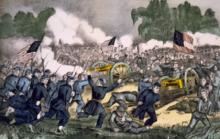 Schlacht bei Gettysburg , Lithographie von Currier und Ives, um 1863