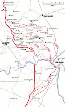 Kort, der viser en oversigt over, hvordan frontlinjen ændrede sig under slaget