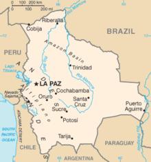 Kaart van Bolivia uit het CIA World Factbook