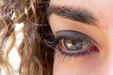 Occhio umano decorato con cosmetici
