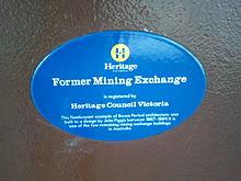 Blauwe plaquette op de Ballarat Mining Exchange