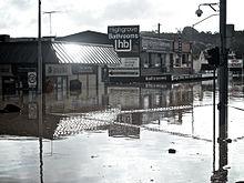 Overstroomde winkels in Ipswich