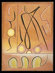 Xdx van Manierre Dawson uit ca. 1910. Andere werken van Dawson van vergelijkbare datum zijn alao abstract, hoewel sommige menselijke figuren tonen in een abstracte, kubistische stijl. Vóór 1910 was zijn werk modernistisch, maar niet zo abstract.
