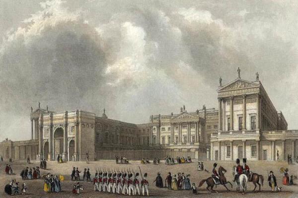 Marmeren Boog zoals oorspronkelijk opgericht, als poort naar het nieuw gebouwde Buckingham Palace.