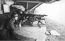 Een Duitse MG34 medium machinegeweeropstelling