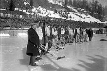 IJshockeywedstrijd tijdens de Olympische Winterspelen van 1928 in St. Moritz