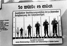 """Een """"Informatieposter"""" ter ondersteuning van de eugenetica van de tentoonstelling """"Wonderen van het leven in Berlijn"""" uit 1935."""