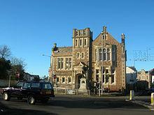 Camborne Openbare Bibliotheek en het standbeeld van Richard Trevithick