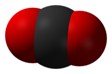 Ein Bild, das einfach zeigt, wie die Atome den Raum ausfüllen können. Das Schwarze ist Kohlenstoff und das Rote ist Sauerstoff.