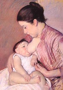 Kobieta karmiąca dziecko piersią; obraz namalowany przez Mary Cassatt, 1890 r.