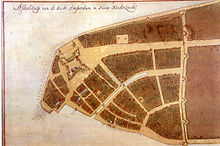 Lower Manhattan in 1660, toen het deel uitmaakte van New Amsterdam. Het grote gebouw aan de rand van het eiland is Fort Amsterdam. Het noorden staat rechts op deze kaart.