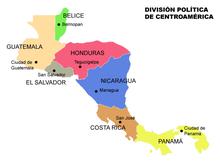 Kraje i stolice Ameryki Środkowej.