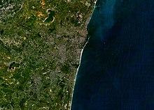 Chennai gezien vanuit de ruimte
