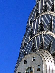 De top van het New Yorkse Chrysler Building, 's werelds hoogste met staal ondersteunde bakstenen gebouw.