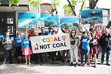 Protestantschade aan het Groot Barrièrerif als gevolg van de klimaatverandering in Australië