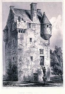 Croquis d'une maison tour, comme il était courant en Grande-Bretagne